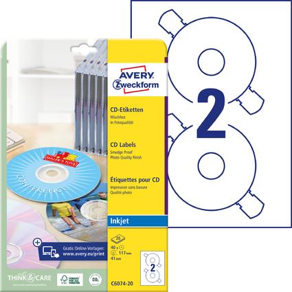 AVERY Zweckform CD-Etiketten ClassicSize, weiß, glänzend