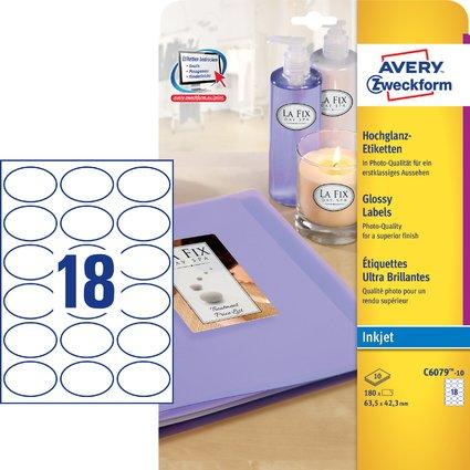 AVERY Zweckform Inkjet/Glossy Etiketten oval, 63,5 x 42,3 mm