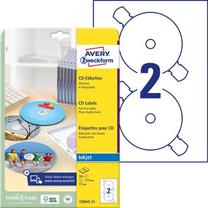 AVERY Zweckform CD-Etiketten SuperSize, weiß, glänzend