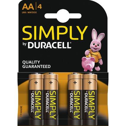 "DURACELL Alkaline Batterie ""simply"" Mignon AA, 4er Blister"