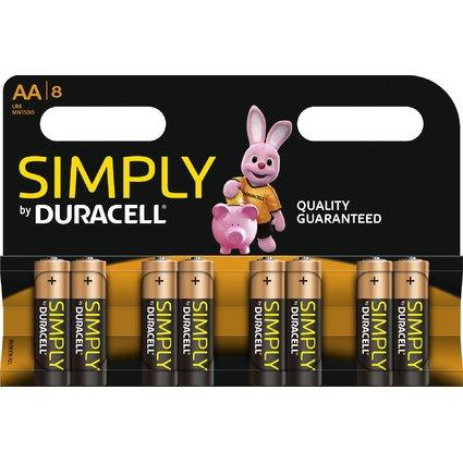 "DURACELL Alkaline Batterie ""simply"" Mignon AA, 8er Blister"