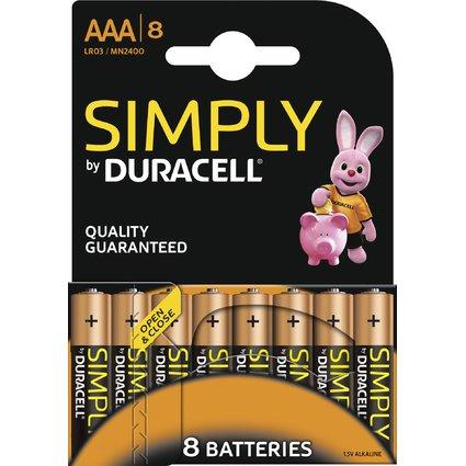 "DURACELL Alkaline Batterie ""simply"" Micro AAA, 8er Blister"