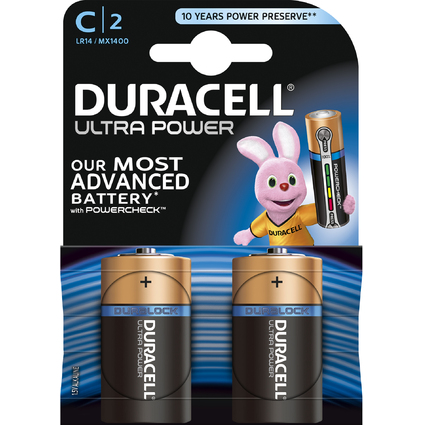 "DURACELL Alkaline Batterie ""ULTRA POWER"" Baby C, 2er Blister"