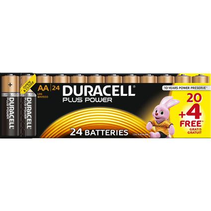 """DURACELL Alkaline Batterie """"PLUS POWER"""", Mignon, 20+4 gratis"""
