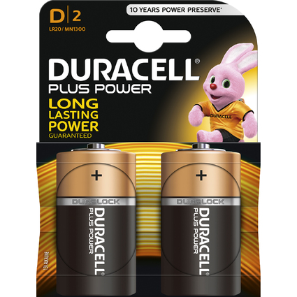 "DURACELL Alkaline Batterie ""PLUS POWER"", Mono D, 2er Blister"