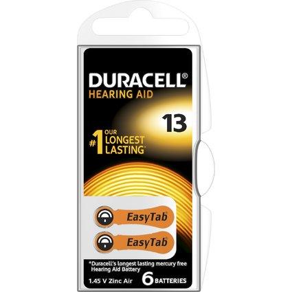 DURACELL Hörgeräte Knopfzelle EasyTab 13, Zink-Luft Batterie