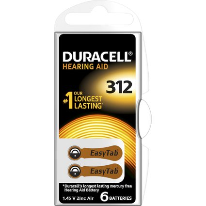 DURACELL Hörgeräte Knopfzelle EasyTab 312, Zink-Luft