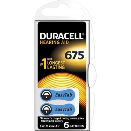 DURACELL Hörgeräte Knopfzelle EasyTab 675, Zink-Luft
