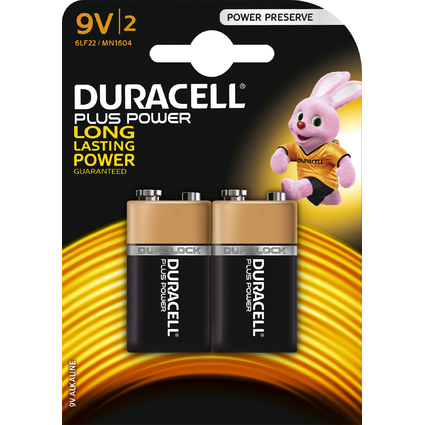 "DURACELL Alkaline Batterie ""PLUS POWER"", E-Block 9V, 2er"
