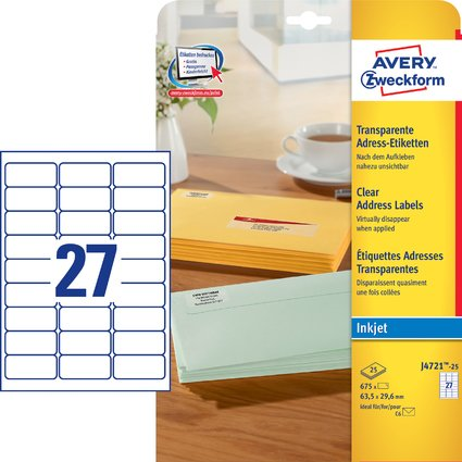 AVERY Zweckform Transparente Adress-Etiketten, 63,5 x 29,6mm