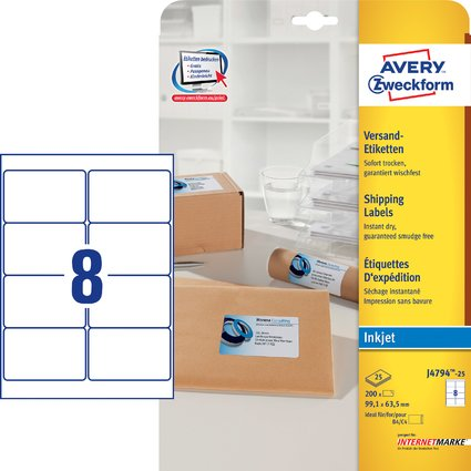AVERY Zweckform Inkjet Versand-Etiketten, 99,1 x 63,5 mm