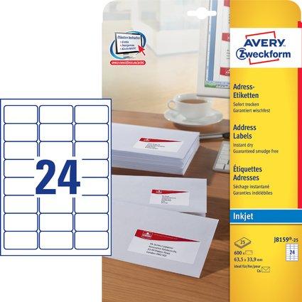 AVERY Zweckform Inkjet Adress-Etiketten, 63,5 x 33,9 mm