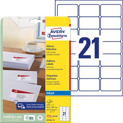 AVERY Zweckform Inkjet Adress-Etiketten, 63,5 x 38,1 mm