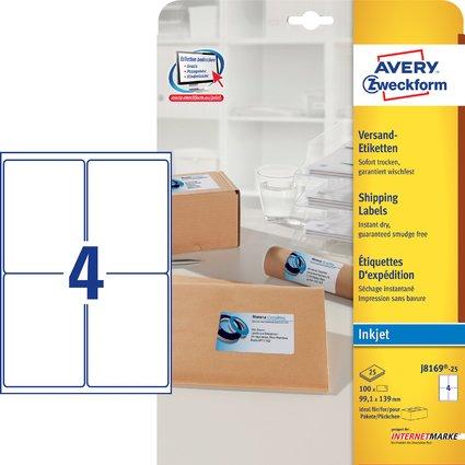 AVERY Zweckform Inkjet Versand-Etiketten, 99,1 x 139 mm