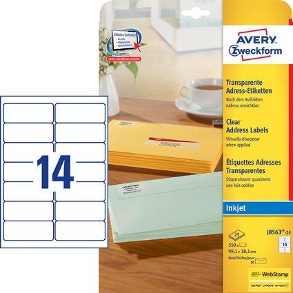 AVERY Zweckform Transparente Adress-Etiketten, 99,1 x 38,1mm