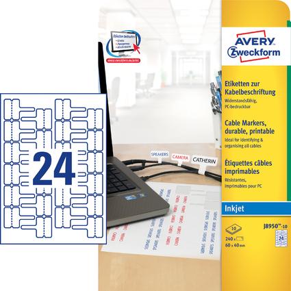 AVERY Zweckform Kabel-Etiketten, 60 x 40 mm, weiß, Inkjet
