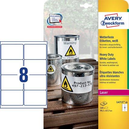 AVERY Zweckform wetterfeste Etiketten, 99,1 x 67,7 mm
