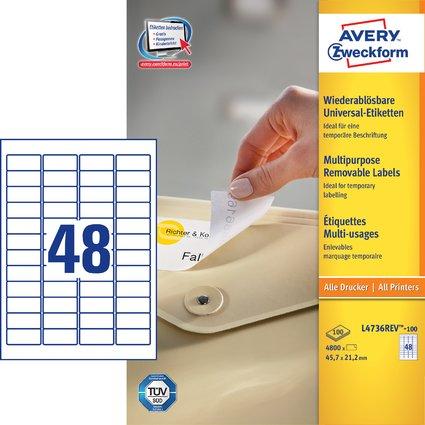 AVERY Zweckform Universal-Etiketten, 45,7 x 21,2 mm, weiß