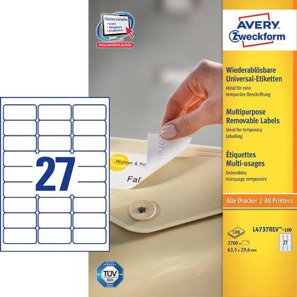 AVERY Zweckform Universal-Etiketten, 63,5 x 29,6 mm, weiß