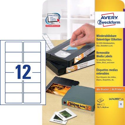 AVERY Zweckform Stick+Lift Etiketten, 78,7 x 46,6 mm, weiß