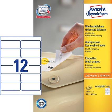 AVERY Zweckform Universal-Etiketten, 99,1 x 42,3 mm, weiß