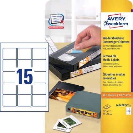 AVERY Zweckform Stick+Lift Etiketten für ZIP Disketten, weiß