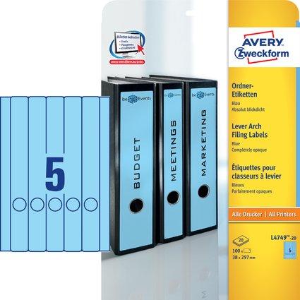 AVERY Zweckform Ordnerrücken-Etiketten, 38 x 297 mm, blau