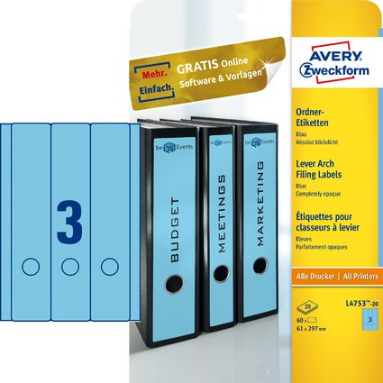 AVERY Zweckform Ordnerrücken-Etiketten, 61 x 297 mm, blau
