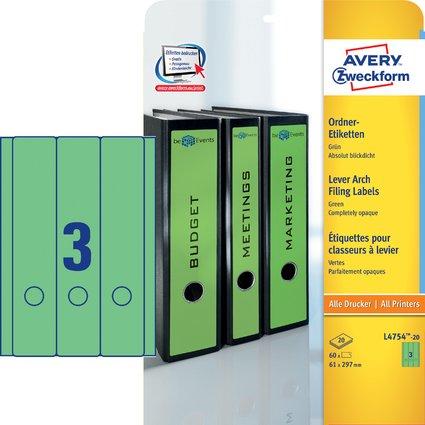 AVERY Zweckform Ordnerrücken-Etiketten, 61 x 297 mm, grün