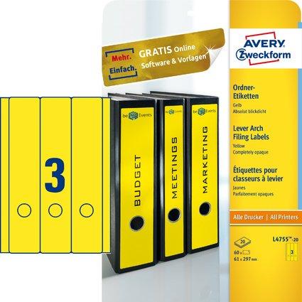 AVERY Zweckform Ordnerrücken-Etiketten, 61 x 297 mm, gelb