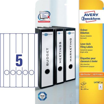 AVERY Zweckform Ordnerrücken-Etiketten, 38 x 297 mm, 10 Bl.