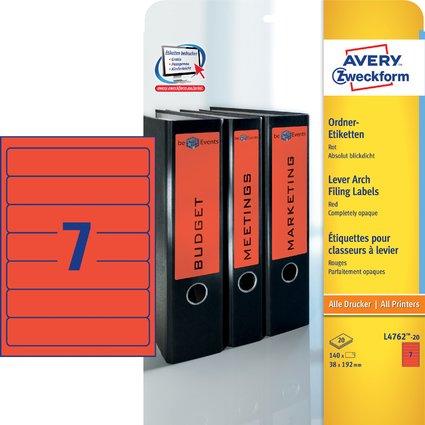 AVERY Zweckform Ordnerrücken-Etiketten, 38 x 192 mm, rot