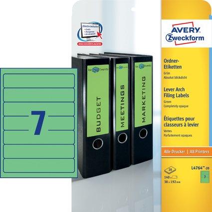 AVERY Zweckform Ordnerrücken-Etiketten, 38 x 192 mm, grün