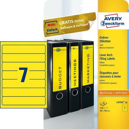 AVERY Zweckform Ordnerrücken-Etiketten, 38 x 192 mm, gelb