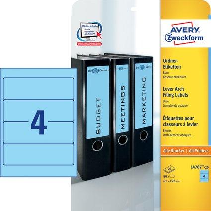 AVERY Zweckform Ordnerrücken-Etiketten, 61 x 192 mm, blau