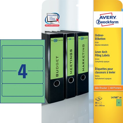 AVERY Zweckform Ordnerrücken-Etiketten, 61 x 192 mm, grün