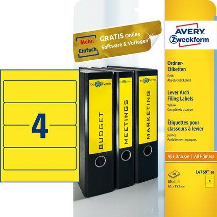 AVERY Zweckform Ordnerrücken-Etiketten, 61 x 192 mm, gelb