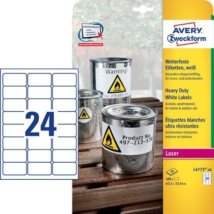 AVERY Zweckform wetterfeste Etiketten, 63,5 x 33,9 mm