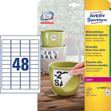 AVERY Zweckform wetterfeste Etiketten, 45,7 x 21,2 mm