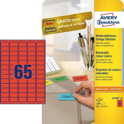 AVERY Zweckform Stick&Lift Etiketten, 38,1 x 21,2 mm, rot