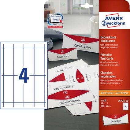AVERY Zweckform Tischkarte, 120 x 45 mm, matt, weiß