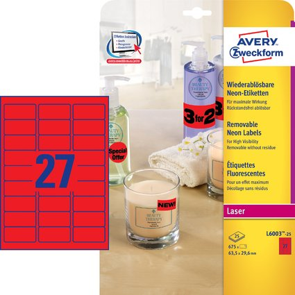 AVERY Zweckform Stick&Lift Etiketten, 63,5 x 29,6 mm, rot