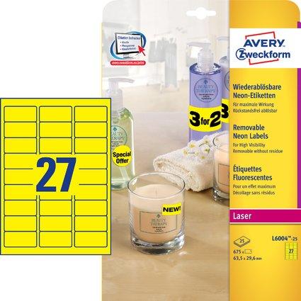 AVERY Zweckform Stick&Lift Etiketten, 63,5 x 29,6 mm, gelb