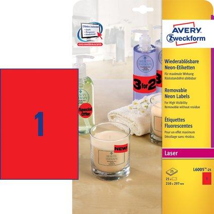 AVERY Zweckform Stick&Lift Etiketten, 210 x 297 mm, rot