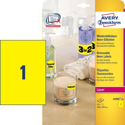 AVERY Zweckform Stick&Lift Etiketten, 210 x 297 mm, gelb