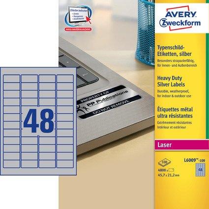 AVERY Zweckform Typenschild-Etiketten, 45,7 x 21,2mm, silber
