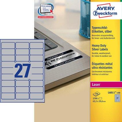 AVERY Zweckform Typenschild-Etiketten, 63,5x29,6 mm, silber