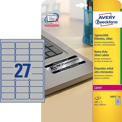 AVERY Zweckform Typenschild-Etiketten, 63,5 x 29,6mm, silber