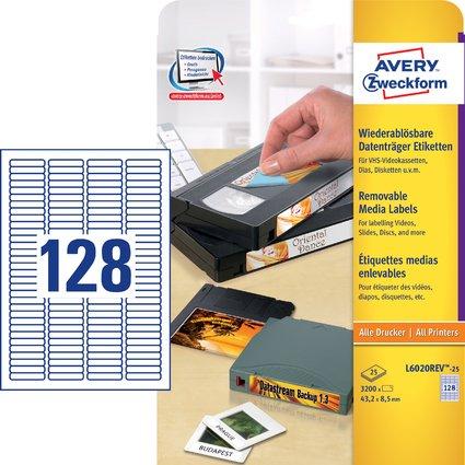 AVERY Zweckform Stick+Lift Etiketten für Dia, 43,2 x 8,5 mm