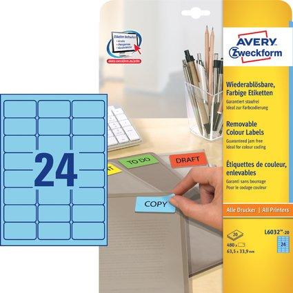 AVERY Zweckform Universal-Etiketten, 63,5 x 33,9 mm, blau